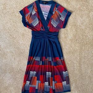 BCBGMaxAzria Navy Blue Pattern Midi Dress